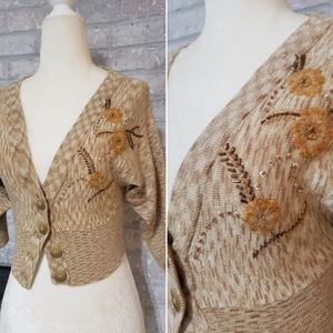 Vintage cropped Marciano gold embellished cardigan